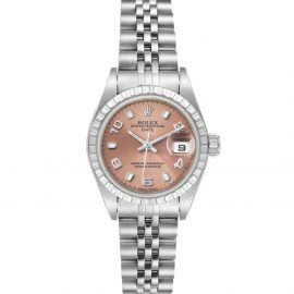 Rolex Salmon Stainless Steel Oyster Perpetual Date 79240 Women's Wristwatch 26 MM