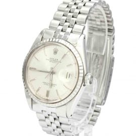 Rolex Silver 18K White Gold And Stainless Steel Datejust 1603 Vintage Men's Wristwatch 36 MM