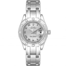 Rolex Silver Diamonds 18K White Gold Pearlmaster 69319 Women's Wristwatch 29 MM