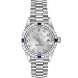 Rolex Silver Diamonds 18K White Gold President Datejust 79089 Women's Wristwatch 26 MM