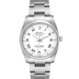 Rolex White Stainless Steel Air King 114200 Men's Wristwatch 34 MM