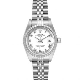Rolex White Stainless Steel Oyster Perpetual Date 79240 Women's Wristwatch 26 MM