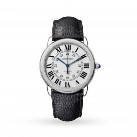 Ronde Solo de Cartier watch, 36mm, steel, leather