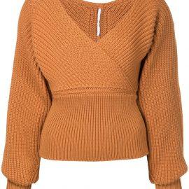 Rosetta Getty wrap neckline sweater - Brown
