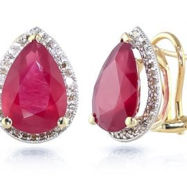 Ruby French Clip Halo Earrings 11.02 ctw in 9ct Gold