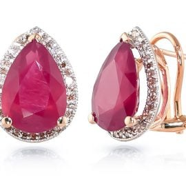 Ruby French Clip Halo Earrings 11.02 ctw in 9ct Rose Gold