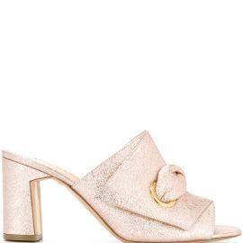 Rupert Sanderson metallic mid-heel mules - PINK