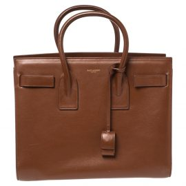 Saint Laurent Brown Leather Small Classic Sac De Jour Tote