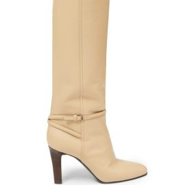 Saint Laurent - Buckle-strap Knee-high Leather Boots - Womens - Cream