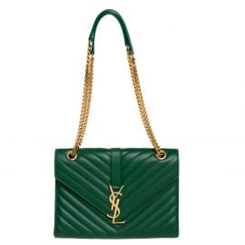 Saint Laurent Green Chevron Leather Medium Cassandre Flap Bag