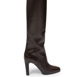 Saint Laurent - Jane Knee-high Leather Boots - Womens - Dark Brown