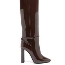 Saint Laurent - Jane Patent-leather Knee-high Boots - Womens - Dark Brown