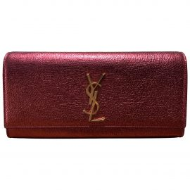 Saint Laurent Kate monogramme Pink Leather Clutch Bag for Women