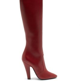 Saint Laurent - Koller Leather Knee-high Boots - Womens - Dark Red