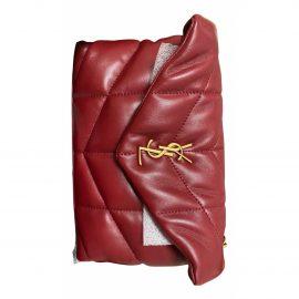Saint Laurent Loulou Burgundy Leather Handbag for Women