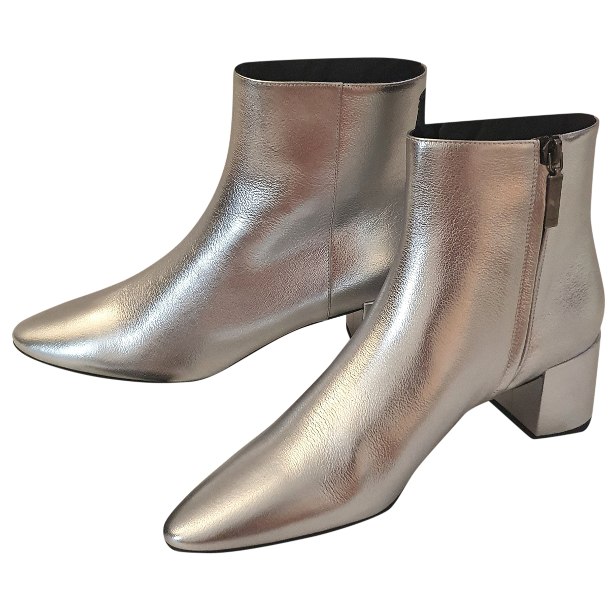 Saint Laurent Loulou Silver Leather Ankle boots for Women
