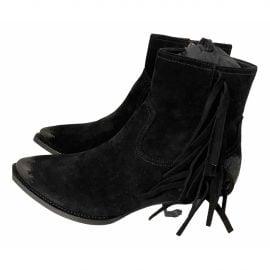 Saint Laurent Lukas Black Suede Ankle boots for Women