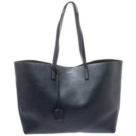 Saint Laurent Midnight Blue Leather E/W Shopper Tote