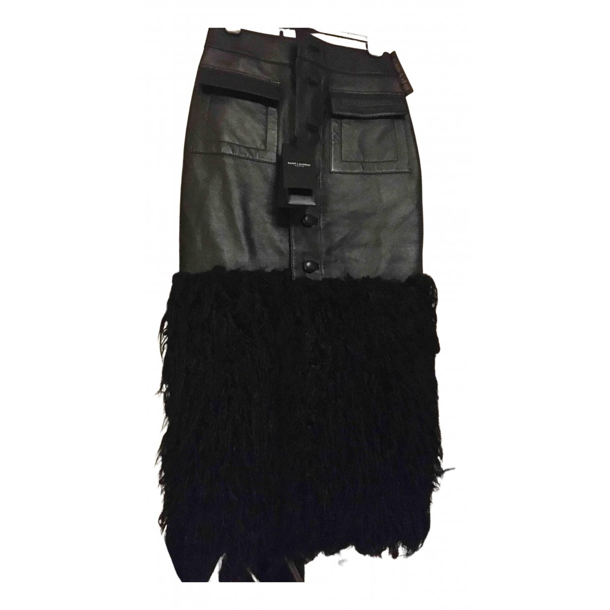 Saint Laurent N Black Leather Skirt for Women