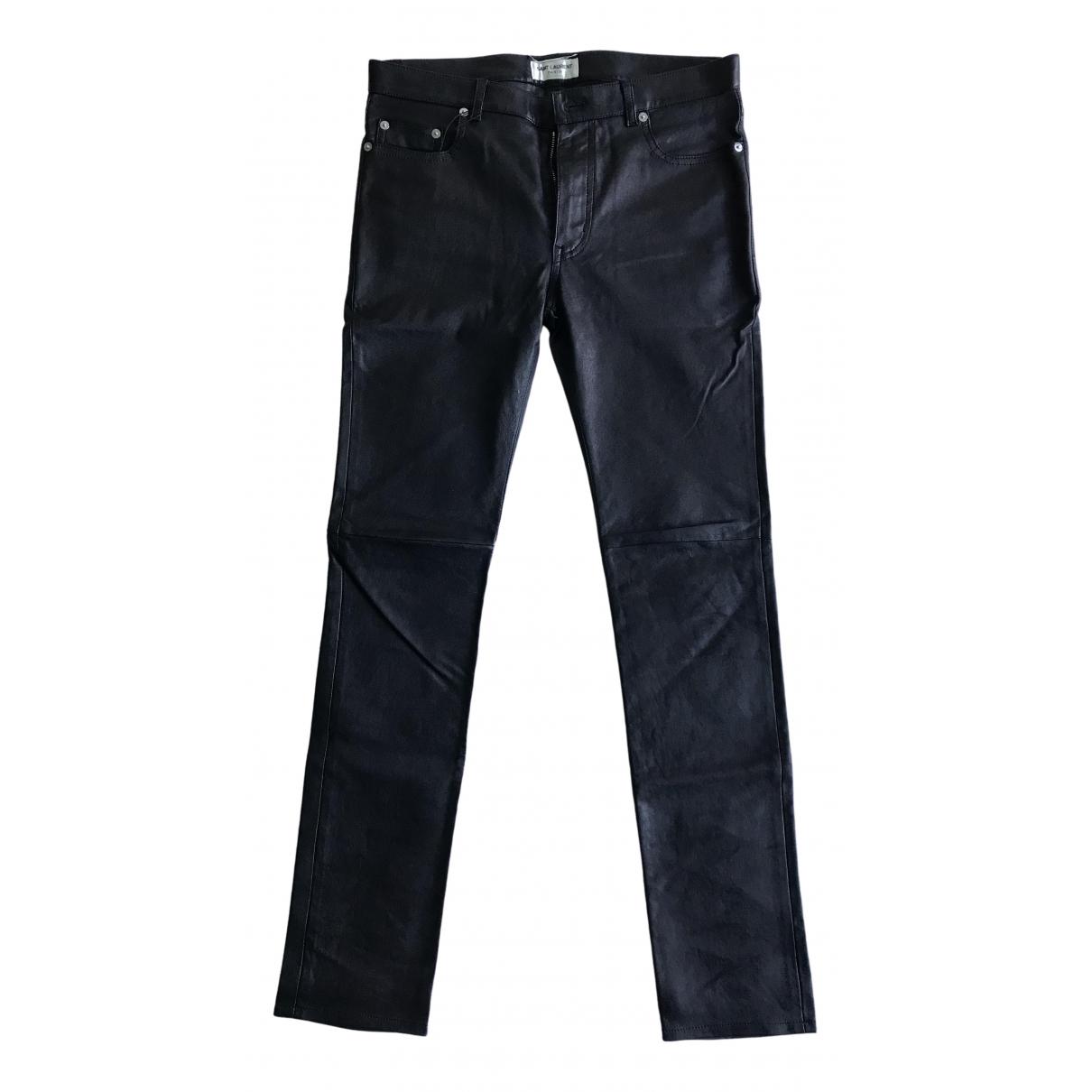 Saint Laurent N Black Leather Trousers for Men