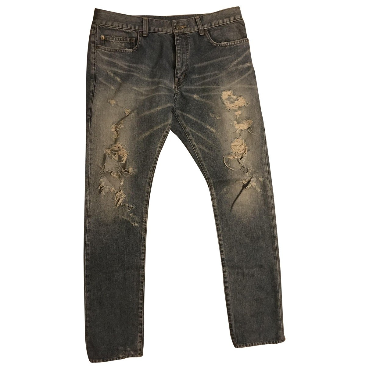 Saint Laurent N Blue Cotton Jeans for Men