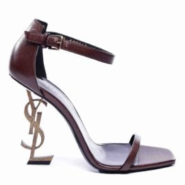 Saint Laurent Opyum Brown Leather Sandals for Women