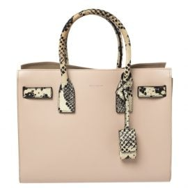 Saint Laurent Pale Pink Leather and Python Embossed Leather Baby Classic Sac De Jour Tote