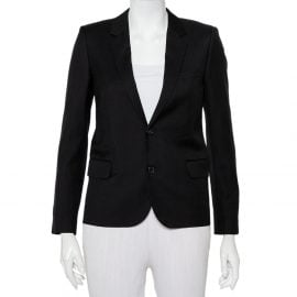 Saint Laurent Paris Black Wool Button Front Blazer S