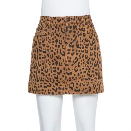 Saint Laurent Paris Brown Leopard Printed Denim Mini Skirt M