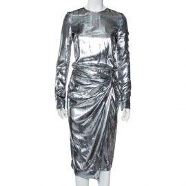 Saint Laurent Paris Silver Lurex Silk Draped Waist Detail Faux Wrap Dress S