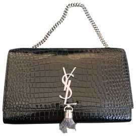 Saint Laurent Pompom Kate Black Leather Clutch Bag for Women