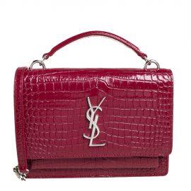 Saint Laurent Red Croc Leather Sunset Crossbody Bag