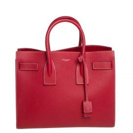 Saint Laurent Red Leather Small Classic Sac De Jour Tote