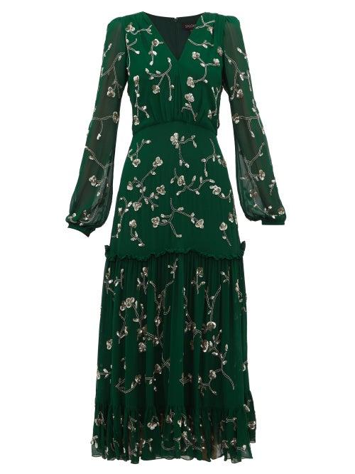 Saloni - Devon Sequin Floral-embroidered Midi Dress - Womens - Dark Green