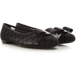 Salvatore Ferragamo Ballet Flats Ballerina Shoes for Women, Black, polyester, 2021, 2.5 3 3.5 4