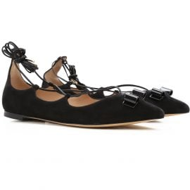 Salvatore Ferragamo Ballet Flats Ballerina Shoes for Women On Sale in Outlet, Black, Suede leather, 2021, 3 3.5 6
