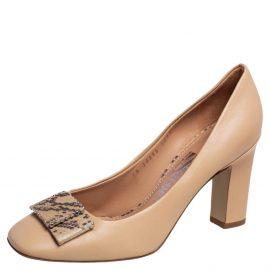Salvatore Ferragamo Beige Leather Block Heel Pumps Size 37.5