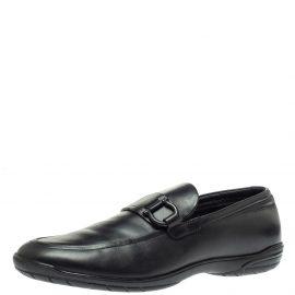 Salvatore Ferragamo Black Leather Gancio Slip On Loafer Size 43.5