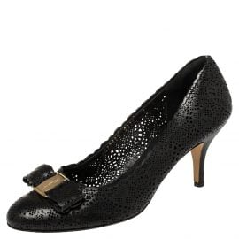 Salvatore Ferragamo Black Perforated Leather Vara Lace Bow Pumps Size 37.5