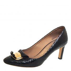 Salvatore Ferragamo Black Python Embossed Leather Embellished Fringe Detail Pumps Size 38