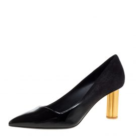 Salvatore Ferragamo Black Suede and Patent Leather Golden Heels Pointed Toe Pumps Size 38.5