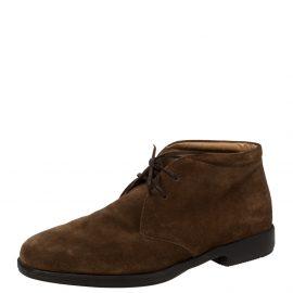 Salvatore Ferragamo Brown Suede Desert Ankle Boots Size 42