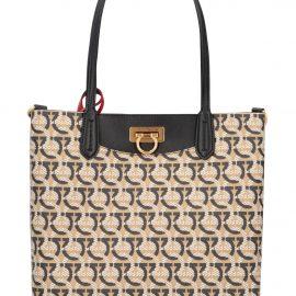 Salvatore Ferragamo Gancini Canvas And Leather Shopping Bag