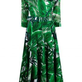 Samantha Sung leaf print midi dress - Green