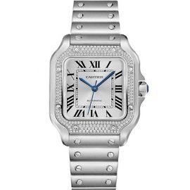 Santos De Cartier Diamond & Stainless Steel Bracelet Watch