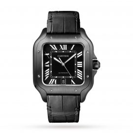 Santos De Cartier Watch Large Model, Automatic Movement, Steel, Adlc, Interchangeable Rubber And Leather Bracelets