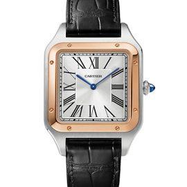 Santos Dumont de Cartier Extra-Large 18K Rose Gold, Stainless Steel & Black Alligator-Strap Watch