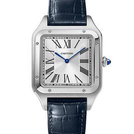 Santos Dumont de Cartier Extra-Large Stainless Steel & Navy Blue Alligator-Strap Watch