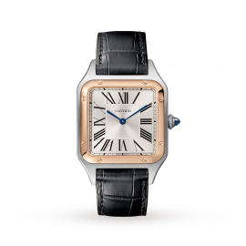 Santos-Dumont watch, Large model, 18K pink gold and steel, leather