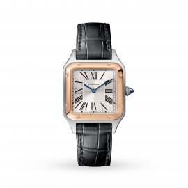 Santos-Dumont watch, Small model, 18K pink gold and steel, leather
